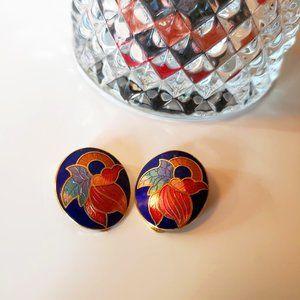 3/30$ 🍂 Cloisonne Enamel Vintage Floral Clip Earrings